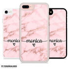 PERSONALISED ROSE GOLD MARBLE ENDLESS NAME INITIALS HARD CASE COVER FOR IPHONE