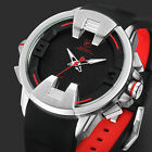 Shark Men's Creative LED Dual Movement Date Day Rubber Strap Sport Watch