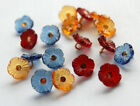 VINTAGE 6 GLASS 'FORGET ME NOT' BUTTONS • 11mm • 6 FLOWERS • RED, TOPAZ, BLUE