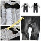 Xmas No.4 NEW Baby Boy Tuxedo Wedding Party Long Sleeve one-piece Romper 3-6-18M