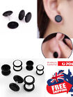 Pair Men's Unisex Fake Acrylic Black Screw-on Plug Stud With O-ring Earrings