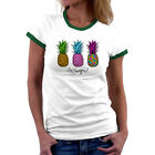 Pineapple Printed Women Funny T-shirts White Tops Short Sleeve Cotton Casual Tee