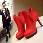 Women's Round Toe Stilettos Booties Ankle Boots High Platform Side Zipper Shoes