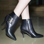 Stylish Women Pointy Toe Stilettos Booties Buckle Ankle Boots Side Zipper Shoes