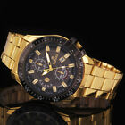 Quartz Mens Luxury Black Dial Gold Stainless Steel Date Analog Sport Wrist Watch