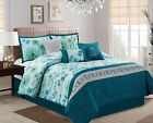 7-piece Embroidered Blue Gray Green Teal Floral Comforter Set