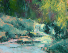 Original Oil Painting Landscape Signed Canvas Autumn Cascade Waterfall TW Nelson