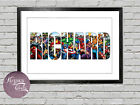Personalised Marvel Avengers Xmen Name Bedroom Wall Print Artwork Christmas Gift