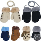 Внешний вид - Winter Warm Newborn Baby Boy Girl Kid Thick Fur Gloves Mittens With Neck String