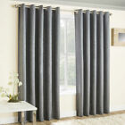 VOGUE Thermal Block Out Lined Curtains Eyelet Ring Top Cream Latte Duck Egg Grey