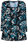 Ladies Plus Size Top Women New Floral Black Blouse Tshirt Size UK 12 14 16 18 20