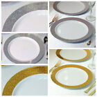 "10.25"" White Round Plastic Disposable Dinner Plates with Shiny Dust Rim SALE"