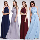 UK Ever Pretty Long Bridesmaid Dress Halter Ruffles Formal Evening Gowns 07201