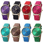 Lady Women Watch Leather Band Stainless Steel Analog Quartz Wrist Watch 8Colors
