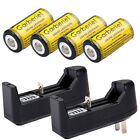 8x Garberiel CR123A 123A 16340 1800mAh 3.7V Li-Ion Rechargeable Battery +Charger
