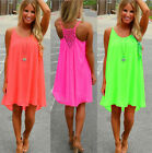 Women Sexy Chiffon Braces Slip Summer Nightclub Mini Party Sun Dress Plus Size