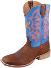 "Hooey Men's Wide Square Toe 12"" Cowboy Boot - Cognac/Blue"