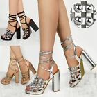 ROSE GOLD CHAMPAGNE HIGH HEEL PARTY SANDALS STRAPPY SILVER STUDS SIZE UK