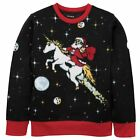 Boys Black Santa Riding A Unicorn Ugly Christmas Sweater Outer Space Top XS
