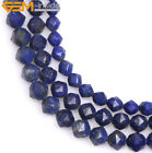 Natural Faceted Blue Lapis Lazuli Gemstone Merkaba For Jewelry Making Beads 15''