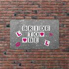 BRIDE TO BE BANNER HEN PARTY SPARKLE LOOK L PLATES Banner Flag & 4 Brass Eyelets