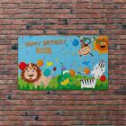 Personalised Jungle Happy Birthday Animals Flag Banner Party Decoration