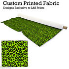 LEOPARD PRINT BRIGHT GREEN FABRIC PER METRE LYCRA JERSEY SPANDEX FROM £15.99