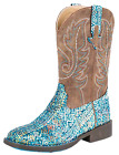 Roper Little Kid's Square Toe Glitter Aztec Cowgirl Boot - Blue