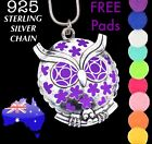 OWL Aromatherapy Essential Oil Diffuser Locket 925 Sterling Chain Necklace Gift