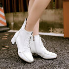Women's New Round Toe Bandage Square Heels Side Zipper Ankle Riding Boots Shoes
