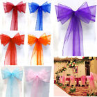 """1/25/50/200 Organza Sash Chair Cover Bow 8x108"""" Wider Fuller Wedding Party Favor"""