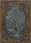 Blue Rings Petals Bordered Traditional-Persian/Oriental Area Rug Medallion 7139A