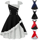 Damen Retro Rockabilly Party Swing Kleid Polka Dots Ballkleid Tanzkleid GR.36-48