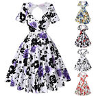 Dress Picnic Prom Size Pinup Cocktail Floral Housewife Vintage Party Swing Back