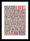 Life is Short Inspirational Quote Sign Framed Picture Print White / Black Frame