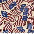 "QT DAN MORRIS ""HOME OF THE BRAVE"" 24808E PATRIOTIC USA FLAGS FABRIC- SELECT SIZE"