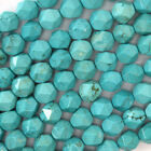"""Star Cut Faceted Blue Turquoise Round Beads 15"""" Diamond Cut 6mm 8mm 10mm 12mm"""