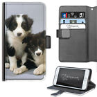 HAIRYWORM BORDER COLLIE PUPPY DOGS DELUXE LEATHER WALLET PHONE CASE, FLIP CASE