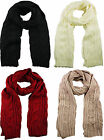 Unisex Luxurious Soft Feel Thick Chunky Cable Knit Long Scarf Red Ecru Stone
