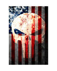 Distressed American Flag & Punisher Skull Watercolor Archival Paper Print