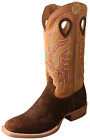 "Twisted X Men's Wide Square Toe 14"" Hippo Ruff Stock Cowboy Boot - Tobacco/Tan"