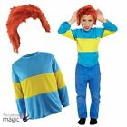Kids Childs Book Week Blue Yellow Striped Jumper Wig Fancy Dress Outfit Costume