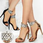 Ladies Womens Bridal Diamante Ankle Strap Party High Heel Stiletto Sandals New