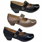 Ladies Patent Faux Leather Stitch Slant Strap Padded Insole Low Block Heels
