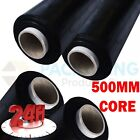 1 2 6 12 ROLLS OF BLACK  PALLET STRETCH SHRINK WRAP MACHINE ROLLS (500mm x 200m)