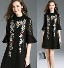 womens Elegant embroidery Embroidered Floral Slim Casual Cocktail party dress