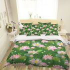 3D Pink Lotus Plant 624 Bed Pillowcases Quilt Duvet Cover Set Single Queen US