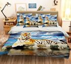 3D Tiger Animal Sky 53 Bed Pillowcases Quilt Duvet Cover Set Single Queen US