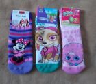 Girls Slipper Socks - PAW PATROL / Minnie / Shopkins - Child Size 6/8 -  New