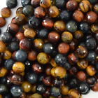 "Faceted Multicolor Tiger Eye Round Beads 15.5"" Strand 6mm 8mm 10mm 12mm 14mm"